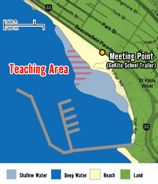 St Kilda Kitesurf Location Map